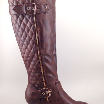 Brown Vegan Leather Boot with Quilt Design and Buckle Details