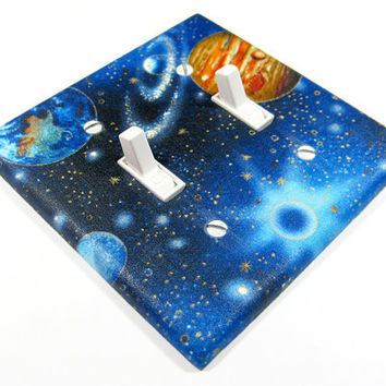 MADE WHEN ORDERED Outer Space Galaxy Double Light Switch Cover Outerspace Galaxies Children Decor Earth Mars