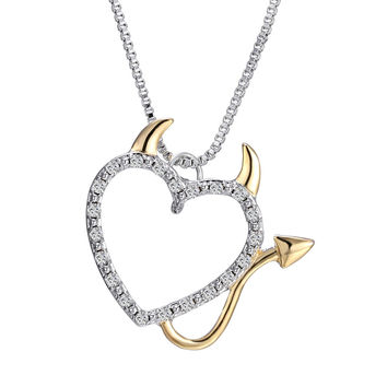 Hot Gold and Silver Plated Love Heart Accent Devil Heart Pendant Necklaces Jewelry for Women Summer Decoration with Box Chains