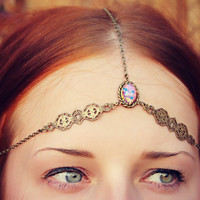 pink opal chain head piece