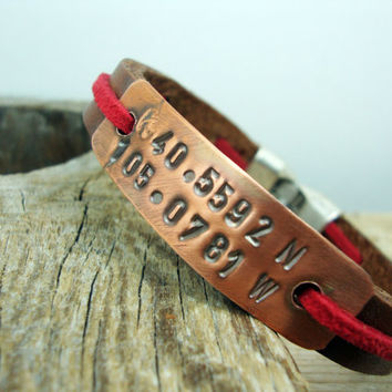 FREE SHIPPING - Men's Bracelet, Leather Men Bracelet, Men Bracelet. Coordinate Personalized Bracelet . brown leather with  tumbled copper