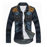 Men's Slim Fit Long Sleeve Turn Down Collar Denim Shirt
