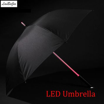7 Colors LED Star Wars Umbrella Golf Umbrella Rain Men Women Light Flash Night Protection Car FlashLight Transparent Umbrella