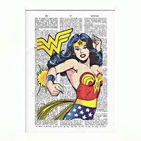 Vintage Dictionary Paper Wonder Woman Dictionary Art Print