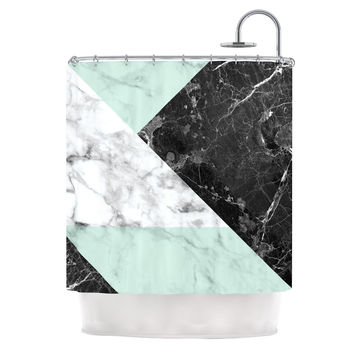 "KESS Original ""Geo Marble and Mint"" Black Art Deco Shower Curtain"