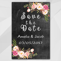 Watercolor Save the Date Card, Chalkboard Card, Custom Save the Date Card, diy wedding, etsy wedding XS020c