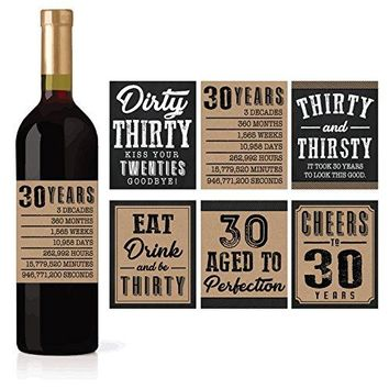 6 30th Birthday Wine or Beer Bottle Labels Stickers Present Dirty Thirsty Thirty Bday Gifts For Him Men Cheers to 30 Years Funny Unique Party Decorations and Novelty Supplies For Man Husband