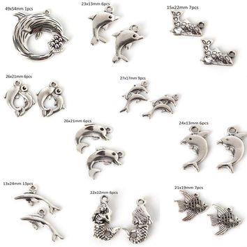 Tiny Animal Charms Silver Tone Metal Dolphin Fish Shark Charms for Jewelry Making DIY Jewelry Accessories Bracelet