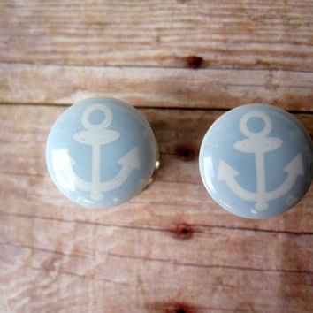 "Pair of Light Blue and White Nautical Anchor Plugs - Handmade Girly Gauges - 0g, 00g, 7/16"", 1/2"", 9/16"" (8mm, 10mm, 11mm, 12mm, 14mm)"