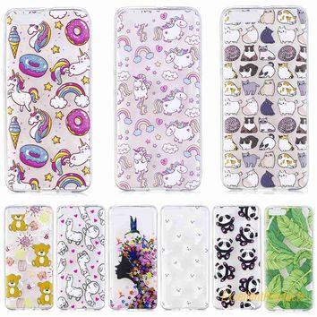 Lovely Cute patterns cat panda bear deer flower tree styles Soft Transparent TPU Phone Case Cover For Xiaomi 6 case