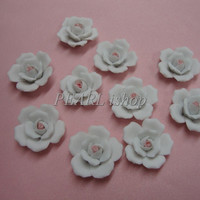 Flowers, porcelain roses, 10 white/pink clay flowers
