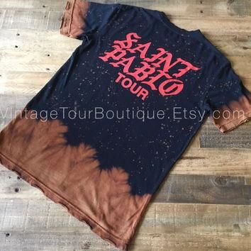 Saint Pablo Tour Bleached Tee Shirt Kanye West Distressed Yeezy Yeezus Tour Tee Merch