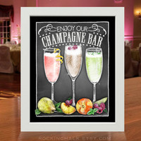 Chalkboard Style Champagne Bar Sign | Weddings, Functions, Party Decorations | Champagne & Fruit Pairing Station Sign
