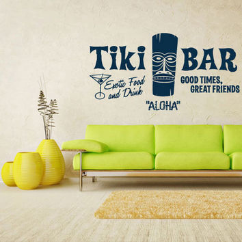 rvz1335 Wall Decal Vinyl Sticker Decals Aloha Tiki Bar Totem Idol Sign Words