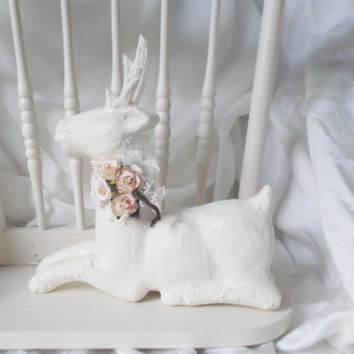 White Reindeer Winter Cottage Farmhouse Hand Painted Deer Shabby Chic ECS