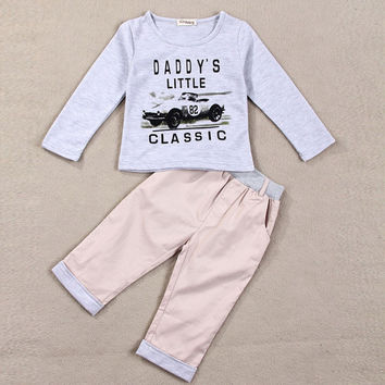 Baby Toddler Infant Newborn Long Sleeve Car Pants Trousers Top Blouse T-Shirt Outfits Set 80/90/100