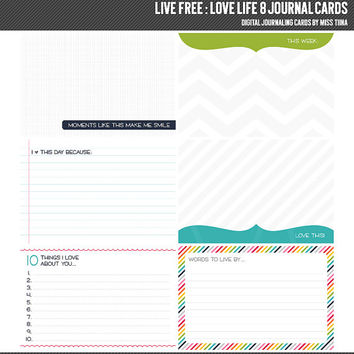 Live Free : Love Life 8 Digital Journal Cards - 4x6 project life inspired scrapbooking journaling note cards  - instant download - CU OK