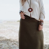 Solid Maxi Skirt - Olive Green