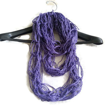 Purple Silver Arm knitted infinity scarf, Purple scarf, silver scarf, knit scarf, lightweight cowl, summer arm knit scarf