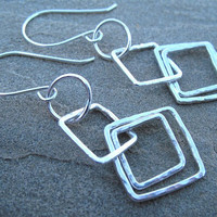 Geometric Earrings Silver Square Jewelry Bright Finish Textured Earrings Under 30