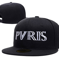HAIHONG Pvris Band Logo Adjustable Snapback Caps Embroidery Hats - Black