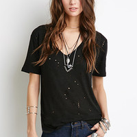 Distressed V-Neck Tee