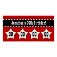 Any Year Birthday Red Black Stars Banner V00S Print