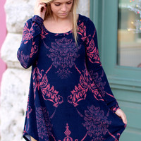 Damasked Darling Tunic {Navy}