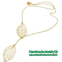 Gold Branch Leaves Charm Pendant Bib Necklace