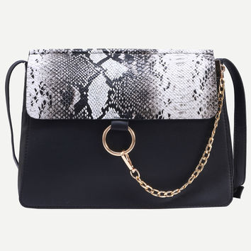 Black Snake Embossed Ring Chain Accent Flap Bag