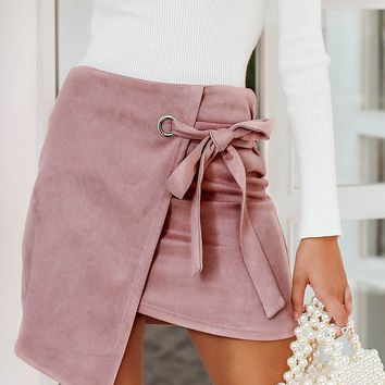 Pastel Pink Asymmetrical Hem Wrap Knotted Suede Skirt