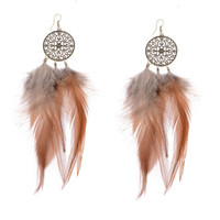 Dreamer American Native Feather Round Drop Ethnic Earrings Jewelry