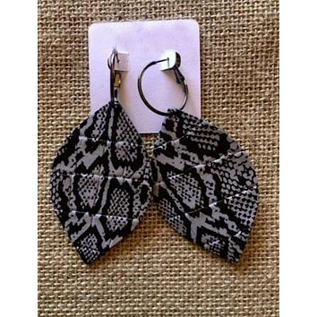 Snakeskin Print Handcrafted Leather Earrings