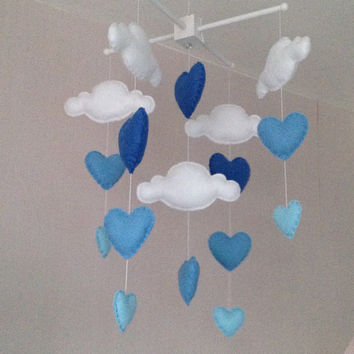 Baby mobile - Cot mobile - clouds and hearts - Cloud Mobile - Baby boy mobile - Nursery Decor - Blue Nursery - Blue baby mobile