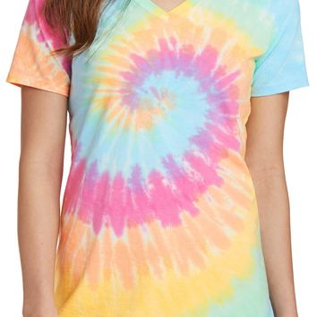 Ladies 100% cotton Pastel Rainbow V-neck Tie Dye Tee Shirt