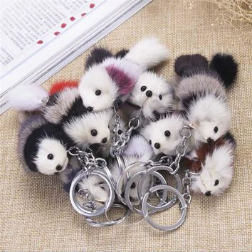 1 Pcs Pompom Artificial Fox Fur Charm Keychain Car Bag Key Ring Women Jewelry New Cute Fluffy Fox Ball Key Chain Rings