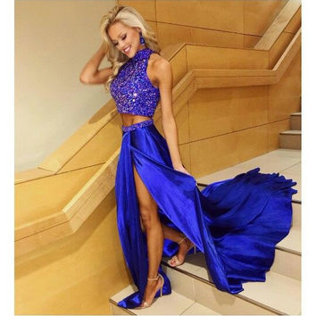 Royal Blue Beaded High Neck Prom Dresses Evening Dresses
