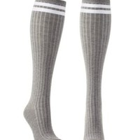 Gray Combo Sporty-Striped Knee-High Socks by Charlotte Russe