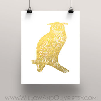 OWL - GREAT HORNED OWL Faux Gold Foil Art Print
