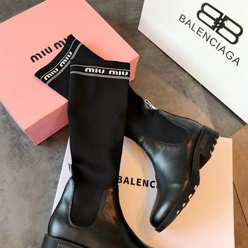 Miu Miu Black Leather Knit Boots