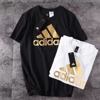 Adidas short - sleeved T-shirt men sport slim casual running breathable cotton half - sleeved round neck jacket