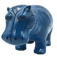 Hippopotamus Blue Egyptian Sculpture with Papyrus Details 6L