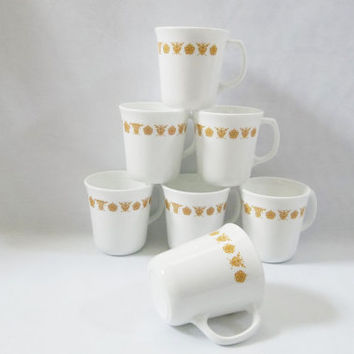 7 Corelle Gold Butterfly Coffee Mugs, EXCELLENT CONDITION, 1970's Retro Corning Ware Coffee Mugs Corelle Suprema Mugs, Vintage Corelle.