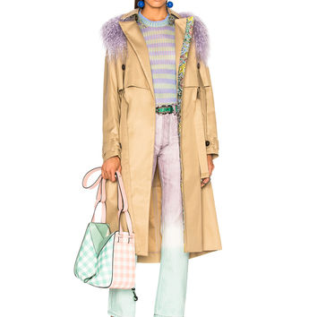Sandy Liang Leesi Trench Coat With Lamb Shearling in Trench & Lavender | FWRD