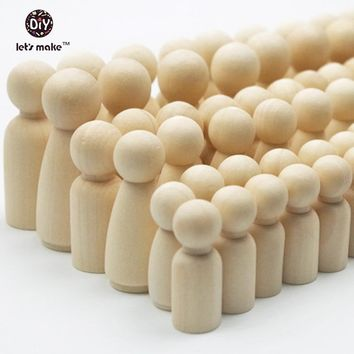 Let's make 10-Sets (60-piece) Family of 6-Wooden Peg People-Solid Hardwood Natural Unfinished wood beads Turnings
