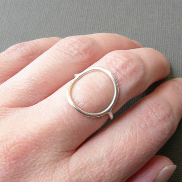 Handcrafted Jewelry Open Circle Ring | Unique Silver Karma Ring