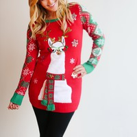 Holiday Llama Christmas Sweater