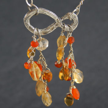 Infinity charm necklace, sterling silver, wire wrapped, citrine, carnelian
