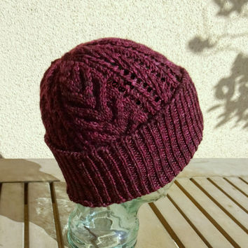 Cable Knit Hat, Cable Beanie, XL Winter Hat, Purple Slouchy Hat, Wine Color Beanie, Extra Large Wool Hat, Mens Winter Cable Hat, Womens Hat