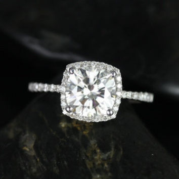 BACKORDER Barra Sweetheart Size 14kt White Gold Thin FB Moissanite Cushion Halo Engagement Ring (Other metals and stone options available)